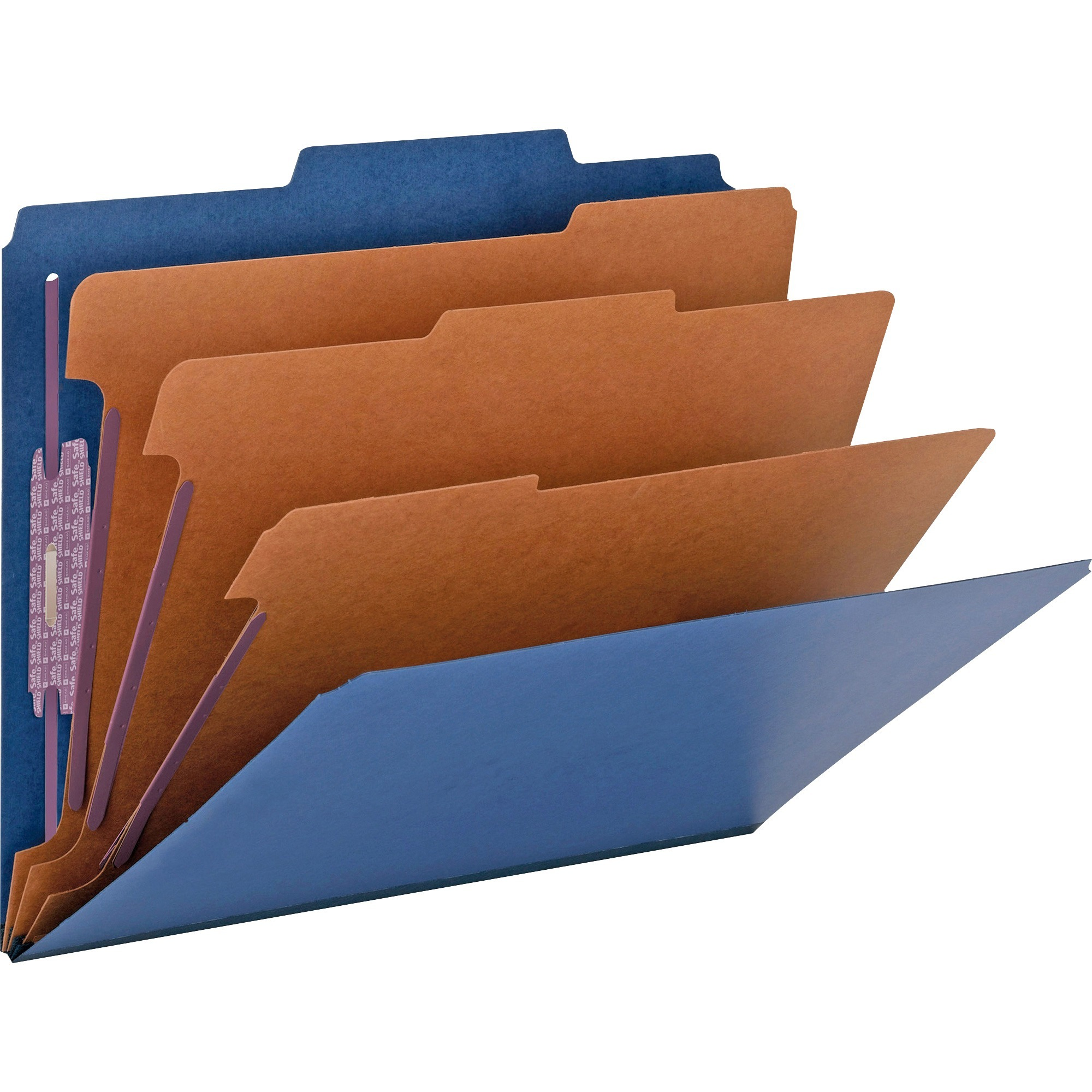 "3"" Expansion Classification Folder, 2/5 Cut, Letter, Eight-Section, Blue, 10/Box"