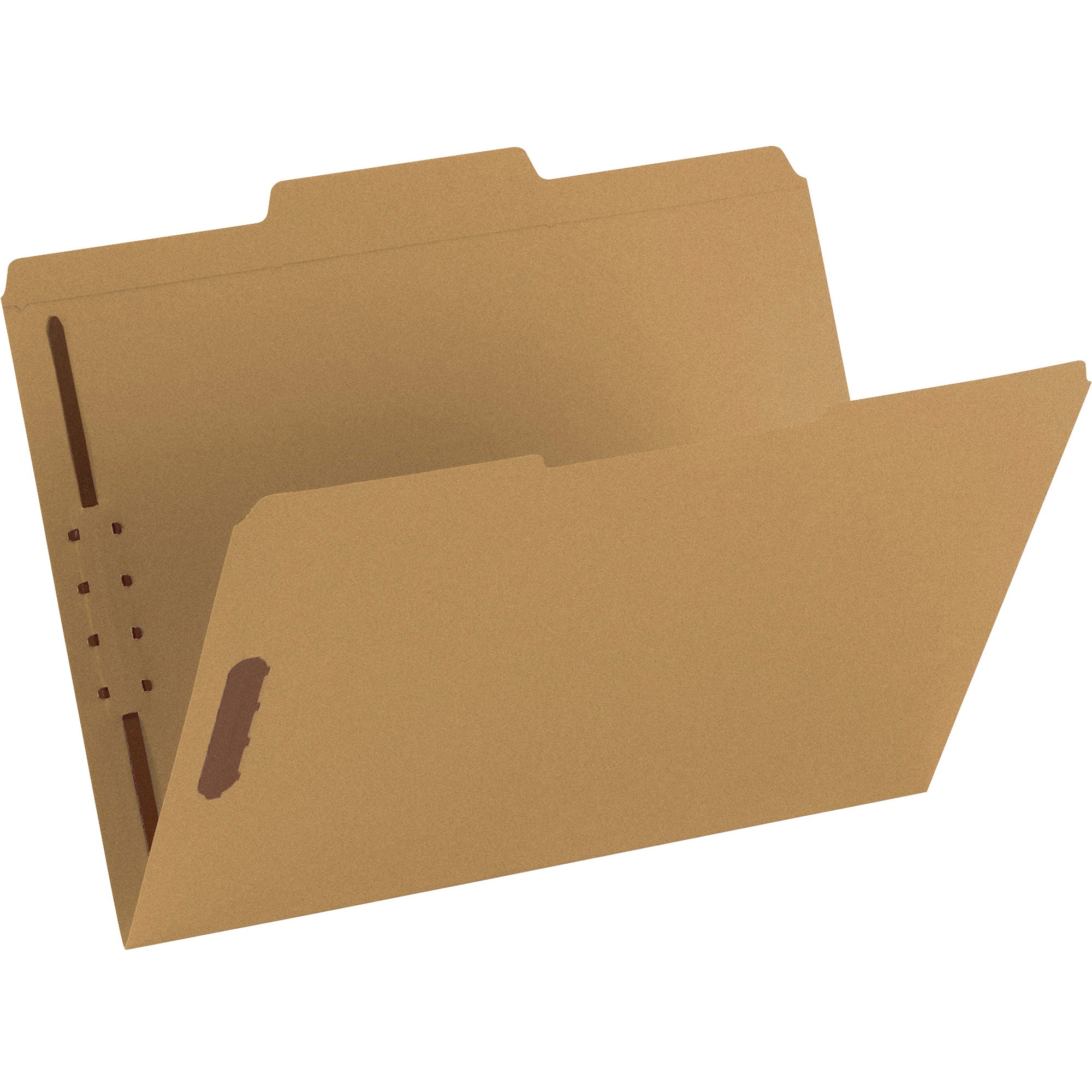 11 Point Kraft Folders, Two Fasteners, 1/3 Cut Top Tab, Letter, Brown, 50/Box