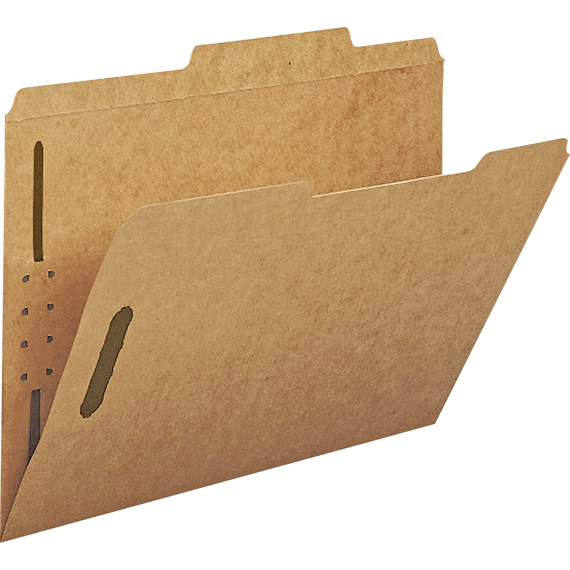 11 Point Kraft Folders, Two Fasteners, 2/5 Cut Top Tab, Letter, Brown, 50/Box