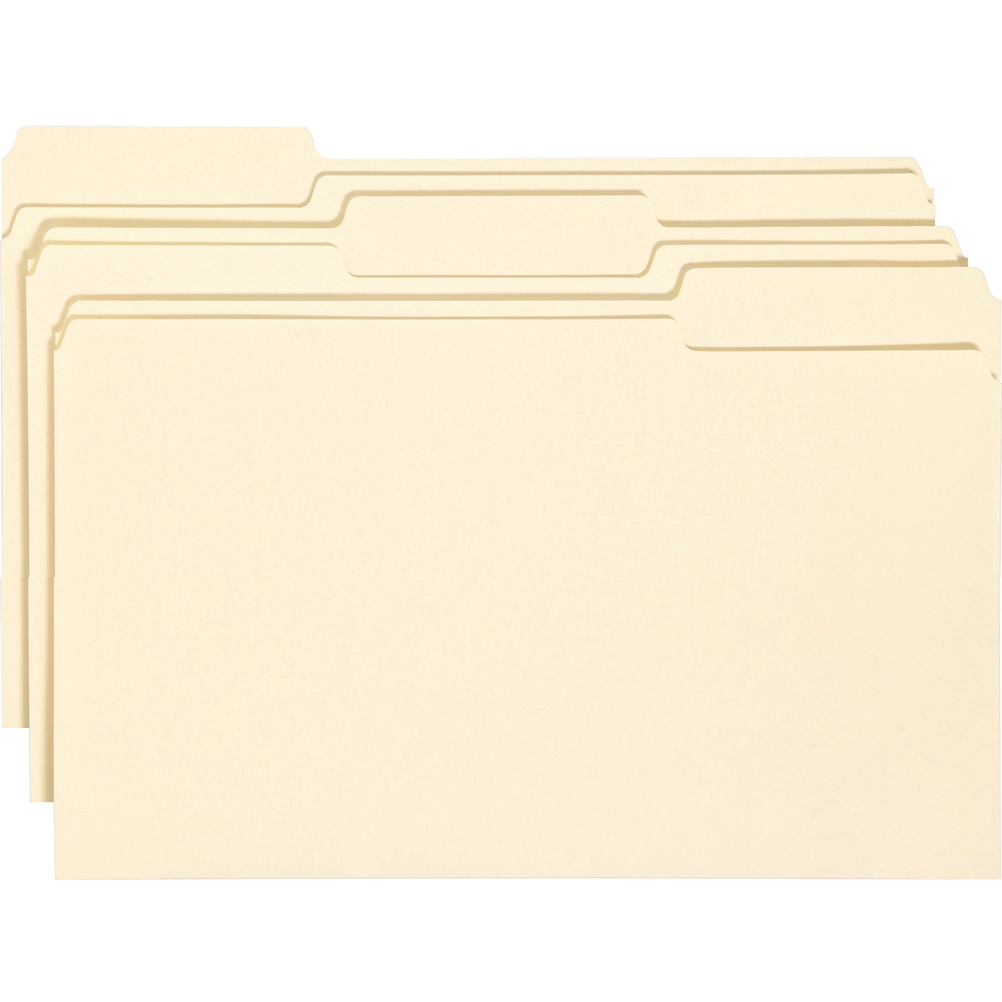 Antimicrobial File Folders, 1/3 Cut Top Tab, Legal, Manila, 100/Box
