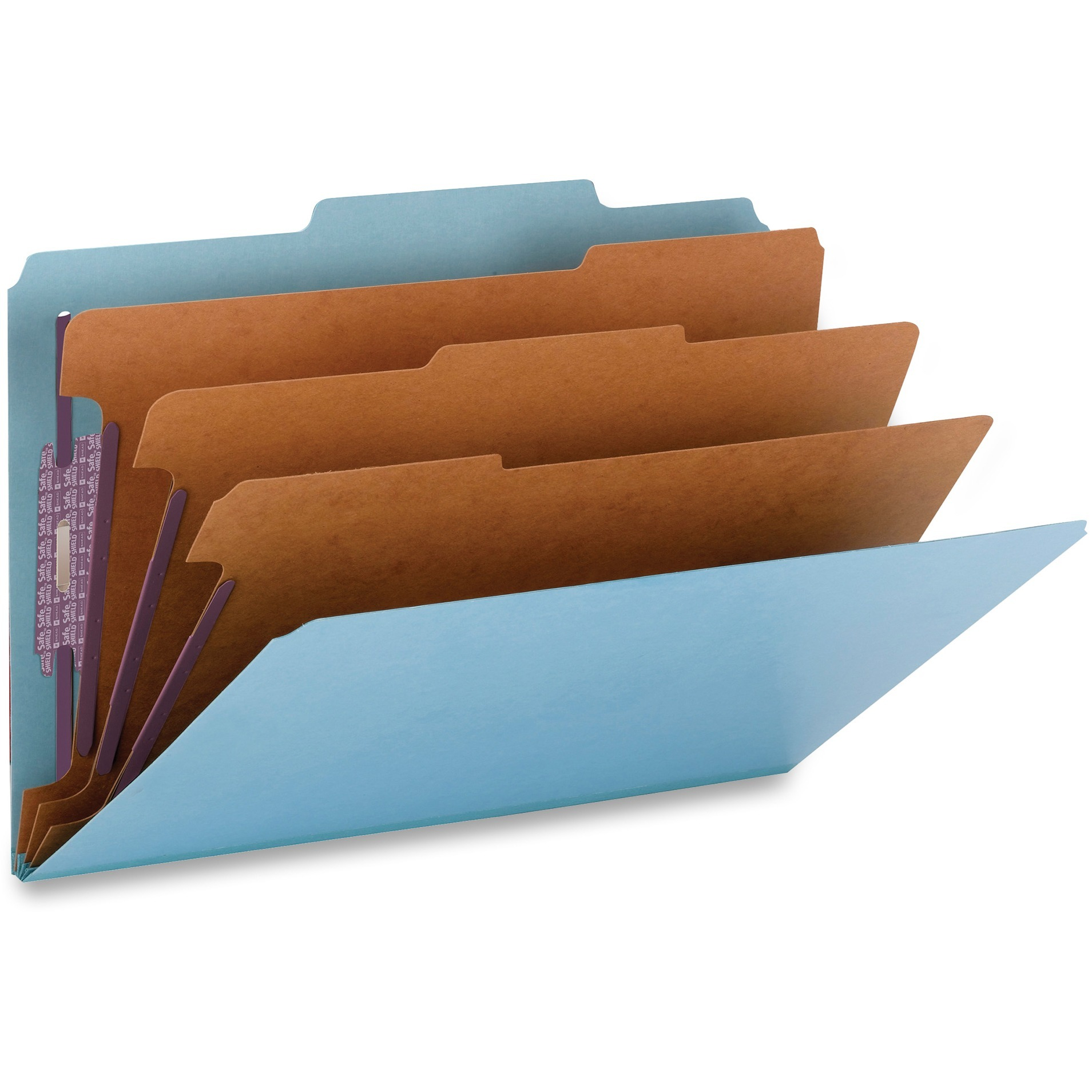 "3"" Expansion Classification Folders, 2/5 Cut, Legal, Eight-Section, Blue, 10/Box"
