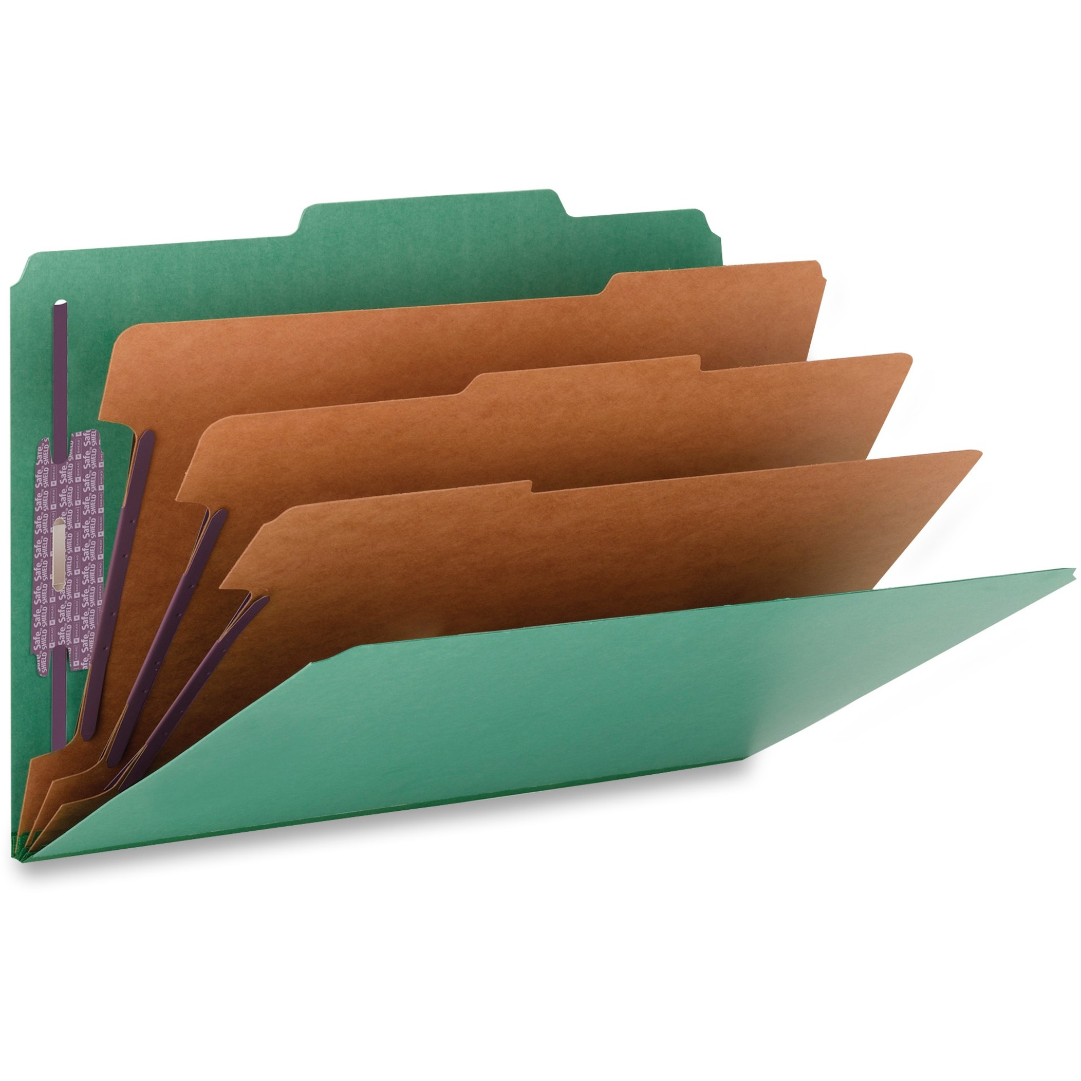 "3"" Expansion Classification Folder, 2/5 Cut, Legal, Eight-Section, Green, 10/Box"
