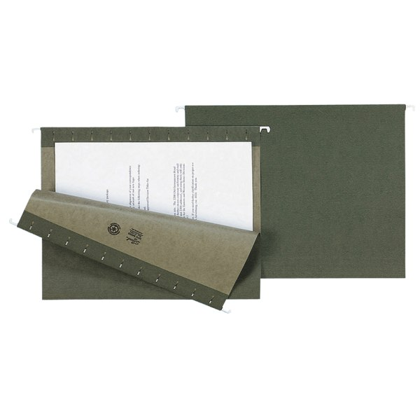 Hanging File Folders, Untabbed, 11 Point Stock, Letter, Green, 25/Box