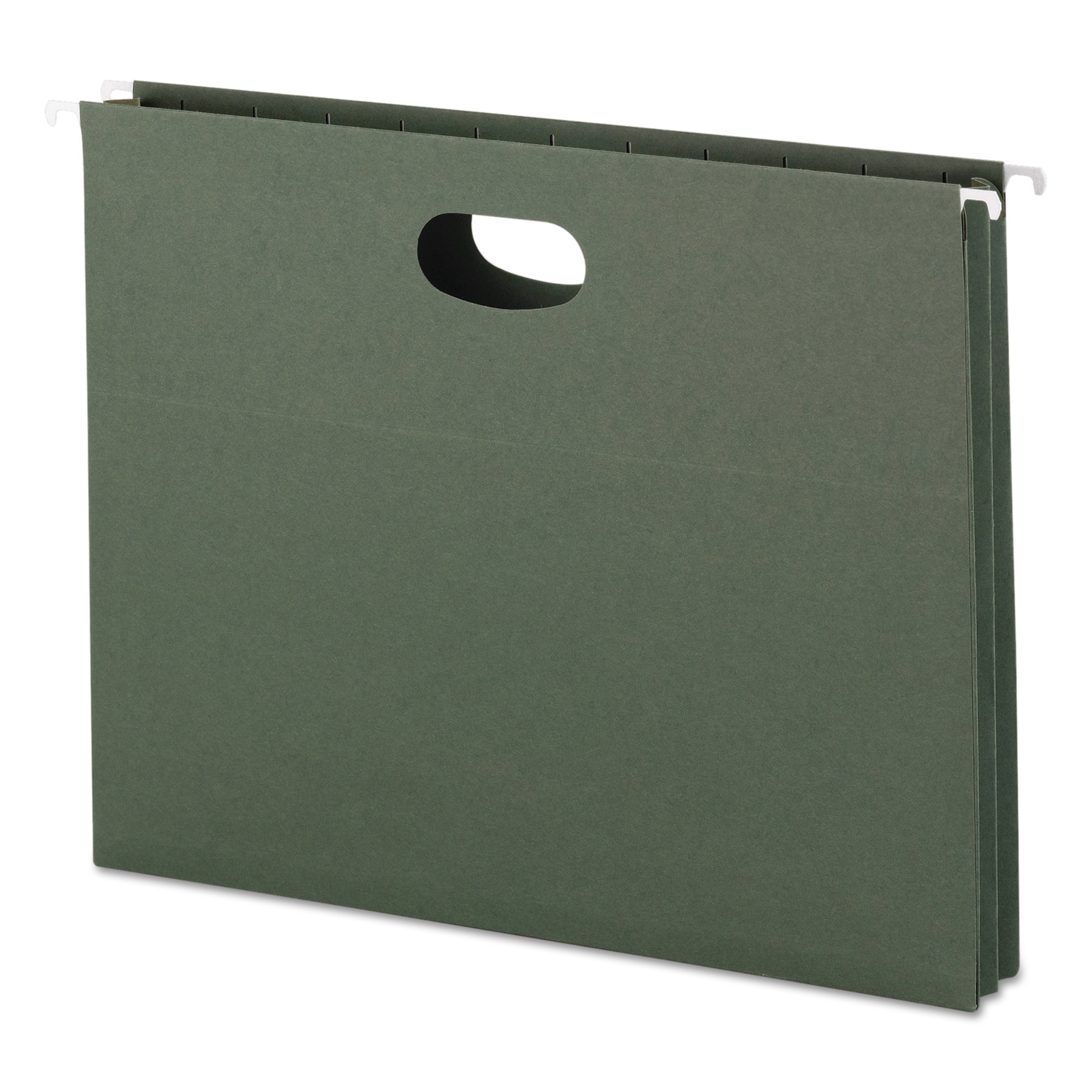 "1 3/4"" Cap Hanging Pockets w/Full-Height Gussetts, Letter, Green, 25/Box"