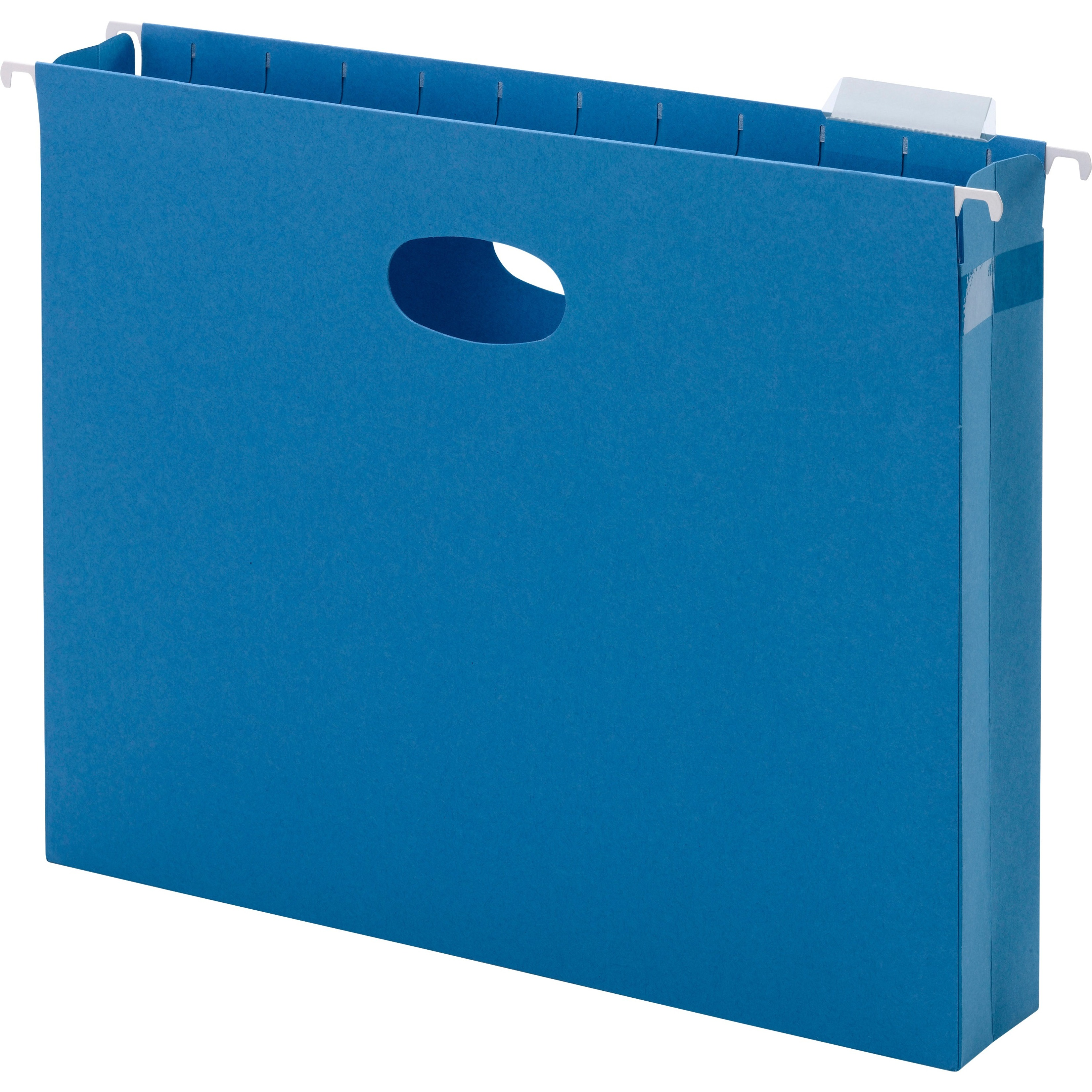 "2"" Cap Hanging Pockets w/Full-Height Gussets & 1/5 Tabs, Letter, Sky Blue, 25/BX"