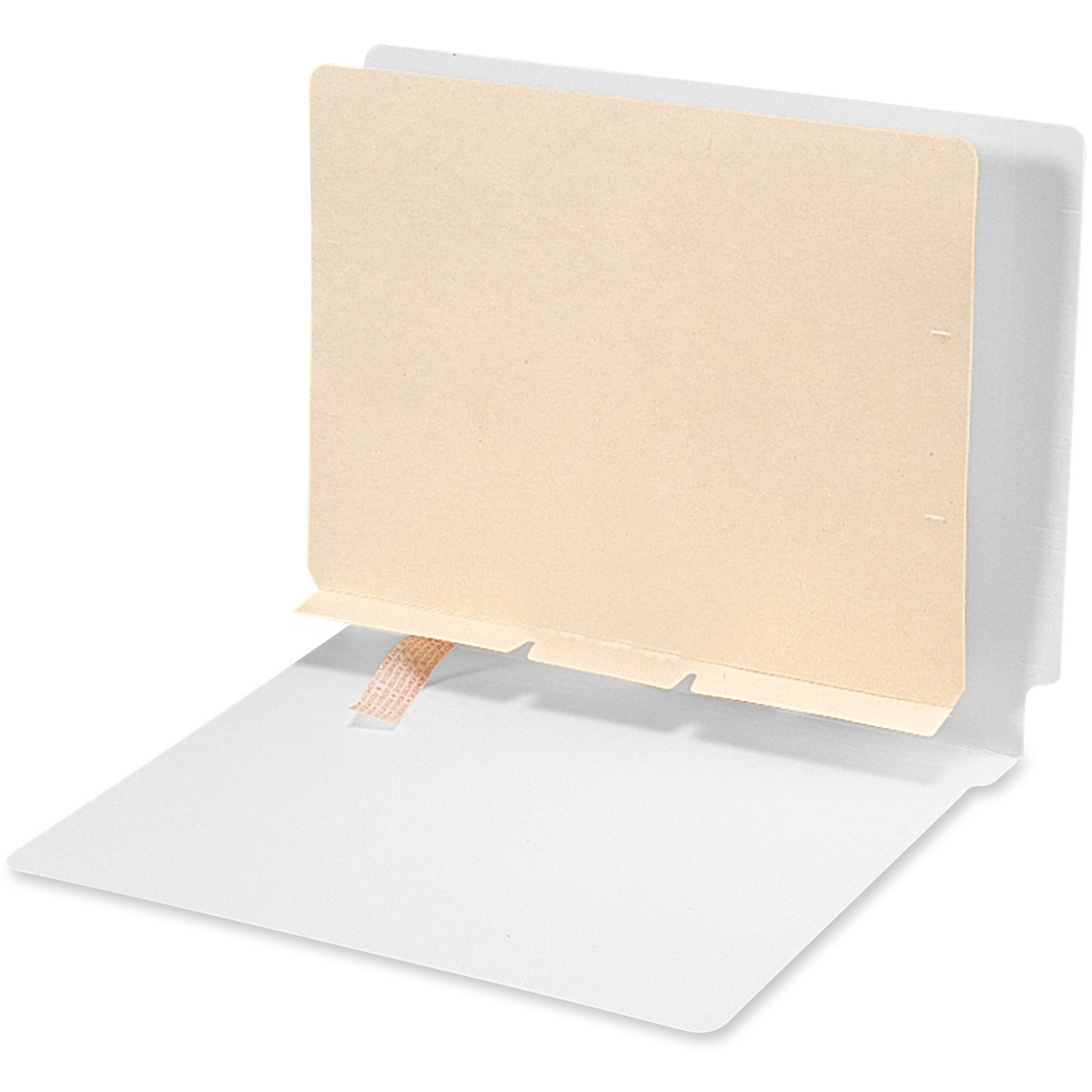 Manila Self-Adhesive Folder Dividers w/Prepunched Slits, 2-Sect, Letter, 100/Box