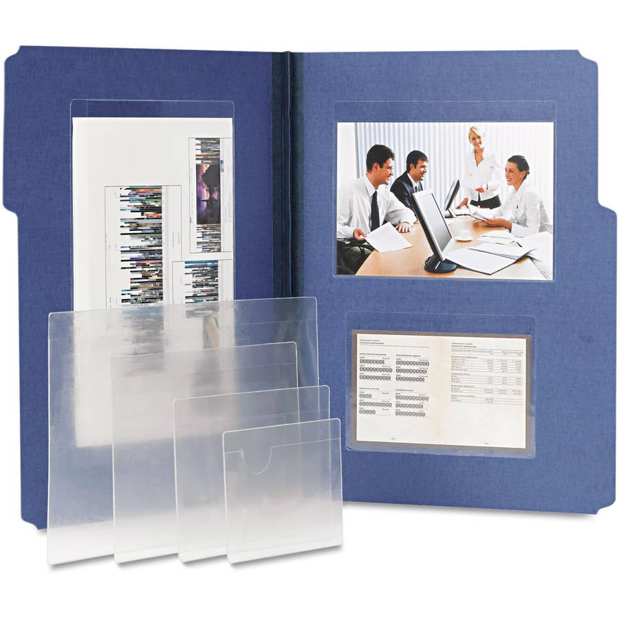 Self-Adhesive Poly Pockets, Top Load, 4 1/16 x 3, Clear, 100/Box