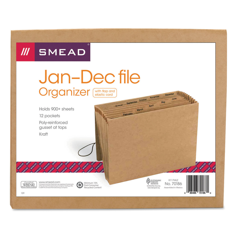 Jan-Dec Indexed Expanding Files, 12 Pockets, Letter, Kraft