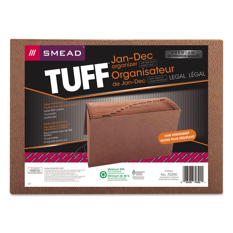 Jan-Dec Expanding File, 12 Pocket, Legal, Redrope Printed