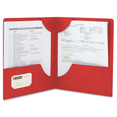 Lockit Two-Pocket Folder, Textured Paper, 11 x 8 1/2, Red, 25/Box