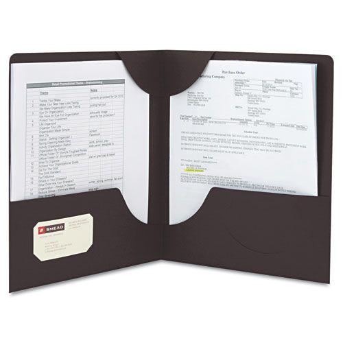Lockit Two-Pocket Folder, Textured Paper, 11 x 8 1/2, Black, 25/Box