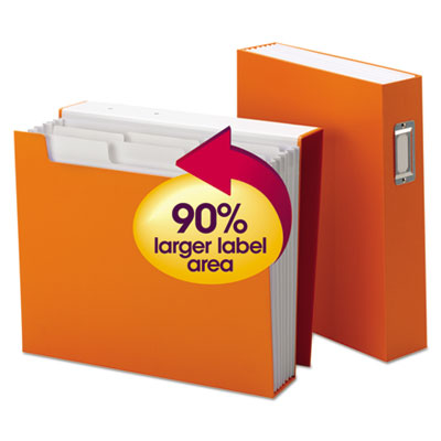 "Book Shelf Organizer with SuperTab, 6 Pockets, 2 1/2"" Exp, Letter, Orange/White"