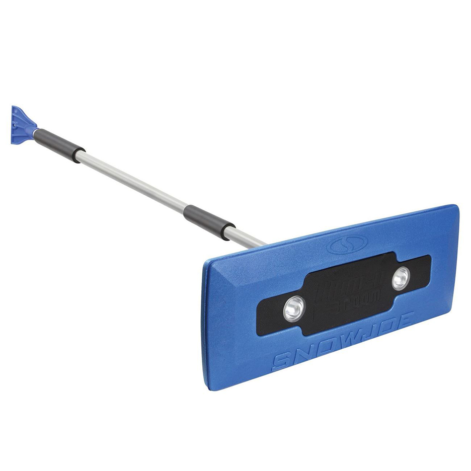 Snow Joe LED 4 In 1 Telescoping Snow Broom Ice Scraper 18 In Foam Head Headlights Blue