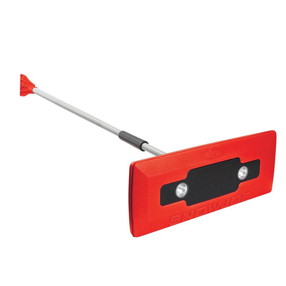 Snow Joe LED RED 4 In 1 Telescoping Snow Broom Ice Scraper 18 In Foam Head Headlights Red