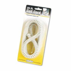 Coiled Phone Cord, Plug/Plug, 25 ft., Ash