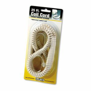 Coiled Phone Cord, Plug/Plug, 25 ft., Ivory