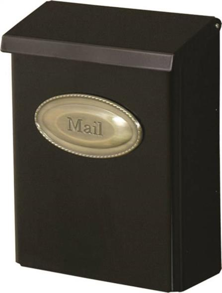 Designer Lockable Heavy-Duty Galvanized Steel Wall Mount Mailbox, Black
