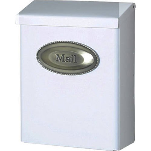 Solar Designer DVKW0000 Single Wall Mailbox, 9-1/2 in W x 4 in D x 12-1/2 in H, White
