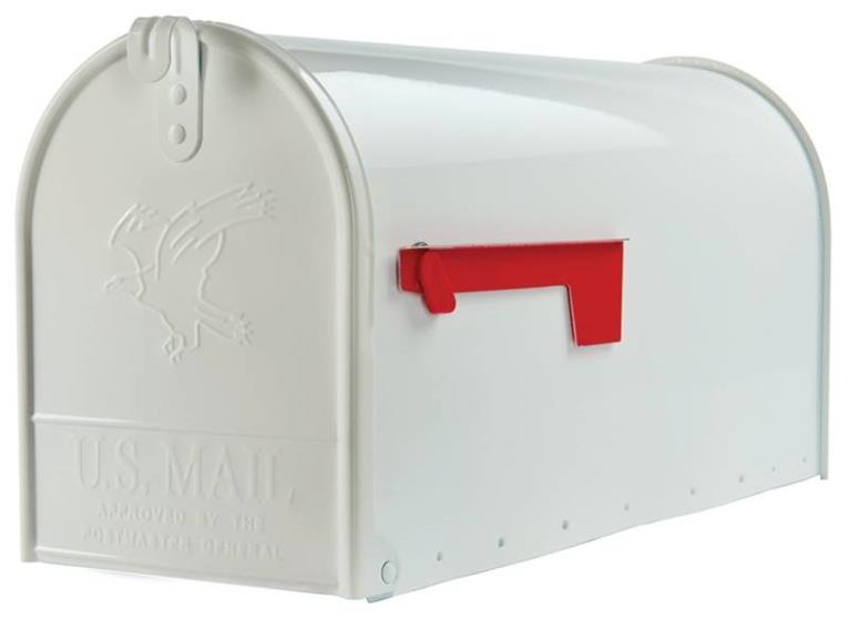 Elite Large Heavy Duty Post Mount Mailbox, White