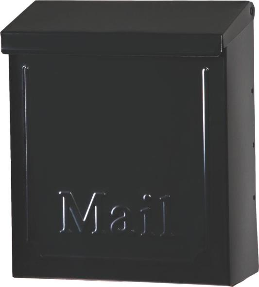 Gibraltar THVKB001 Lockable Vertical Mail Box, 9 in W x 4-1/8 in D x 10-3/4 in H, Black