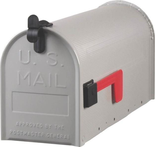 Gibraltar ST100000 Rural Small Standard Mail Box, 9 in W x 7 in D x 19-1/2 in H, Gray
