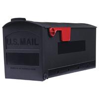Solar G/MB505B Roughneck Standard Rural Mailbox, 8-1/4 in W x 20-1/4 in D x 9-1/2 in H, Black