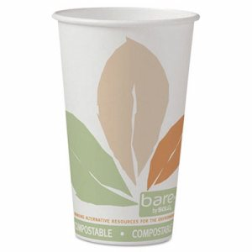 Bare by Solo Eco-Forward PLA Paper Hot Cups, Leaf Design, 16 oz, 1000/Carton