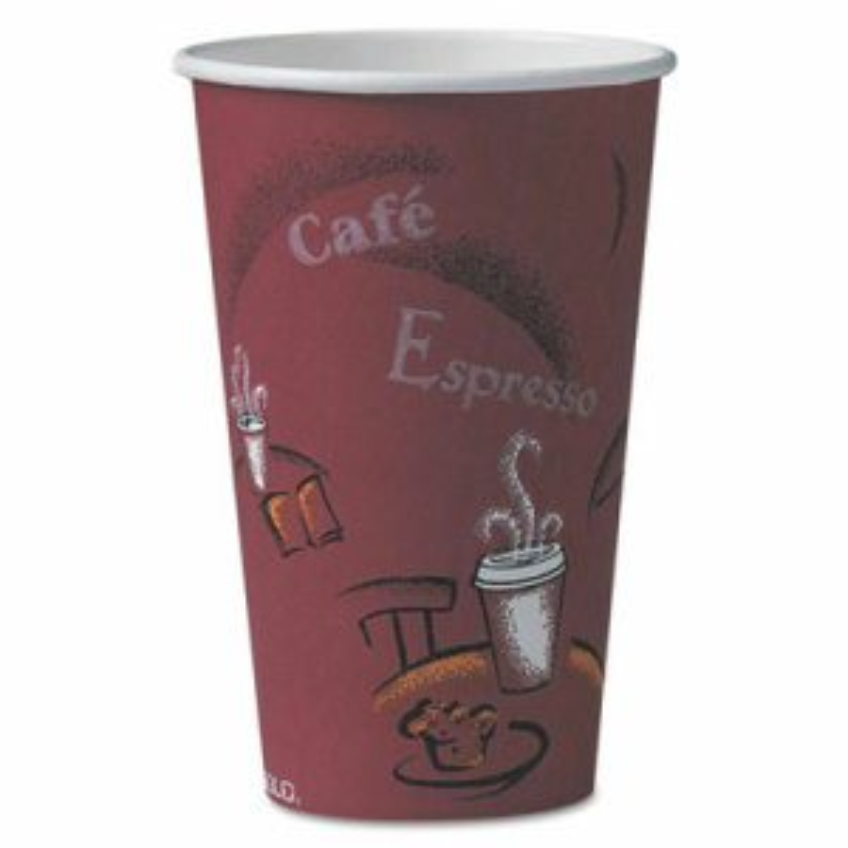 Bistro Design Hot Drink Cups, Paper, 16oz, Maroon, 50/Pack
