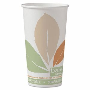 Bare by Solo Eco-Forward PLA Paper Hot Cups, 20oz,Leaf Design,40/Bag,15 Bags/Ct