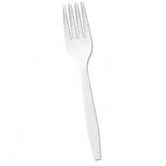 Impress Heavyweight Full-Length Polystyrene Cutlery, Fork, White, 1000/Carton