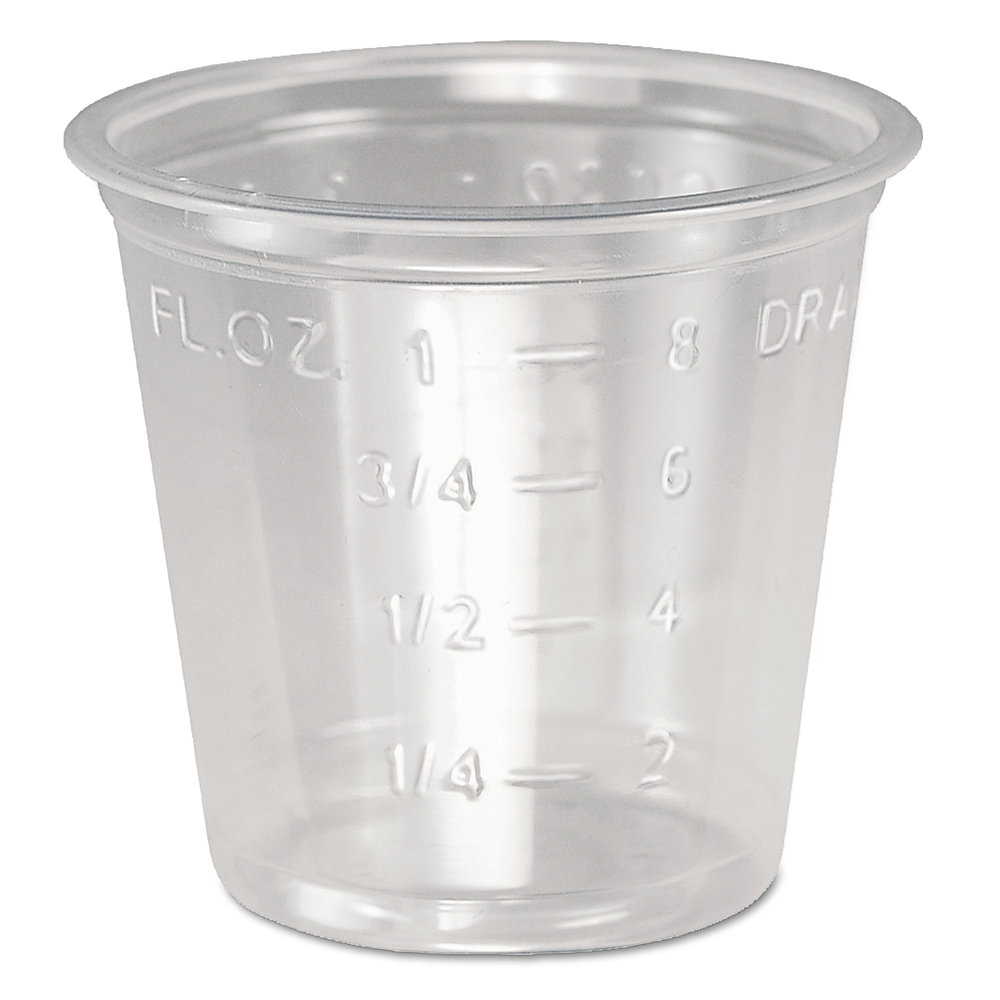 Plastic Medical & Dental Cups, 1 oz, Clear, Graduated, 5000/Carton