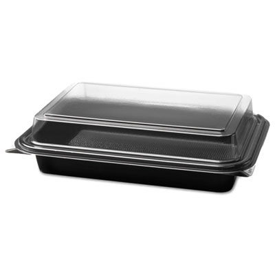 Carryout Hinged Plastic Deli Boxes, 6.2 x 8.7 x 2.2, Black/Clear, 200/Carton