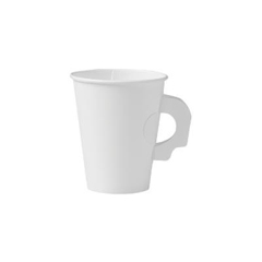 Polycoated Hot Paper Cups with Handles, 8 oz, White