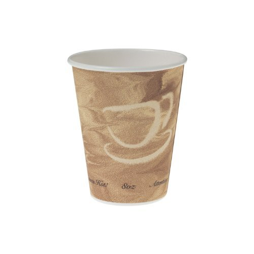 Mistique Polycoated Hot Paper Cup, 8 oz, Printed, Brown