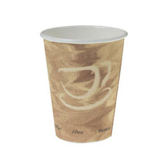 Mistique Polycoated Hot Paper Cup, 12 oz., Printed, Brown, 50/Bag