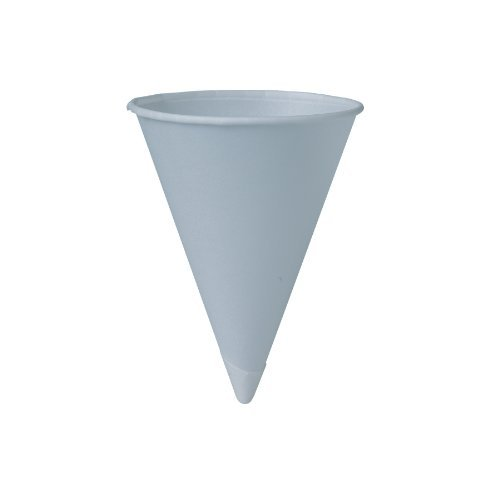 Bare Treated Paper Cone Water Cups, 6 oz., White, 200/Bag