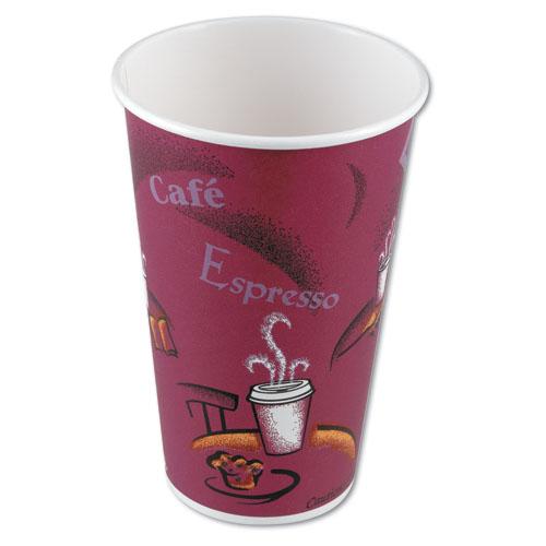 Bistro Design Hot Drink Cups, Paper, 16oz, Maroon, 1000/Carton
