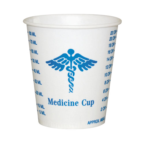 Paper Medical & Dental Graduated Cups, 3oz, White/Blue, 100/Bag, 50 Bags/Carton