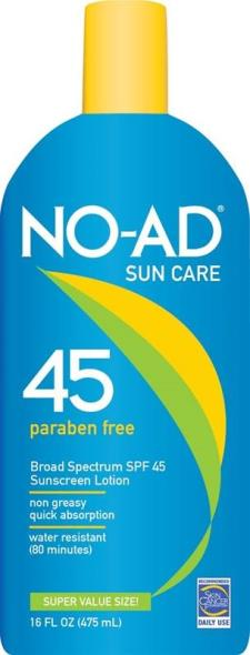 No-Ad 218 SPF 45 Sunblock Lotion, 16 oz, Lotion