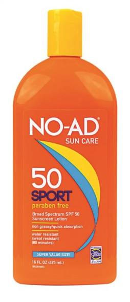 No-Ad 220 SPF 50 Sport Sunscreen Lotion, 16 oz, Lotion