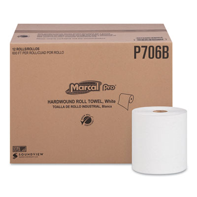 """Hardwound Roll Paper Towels, 1-Ply, 7 7/8"""" x 600ft, 12 Rolls/Carton"""