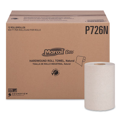 """Hardwound Roll Paper Towels, 1-Ply, 7 7/8"""" x 600ft, 12 Rolls/Pack,12 Pack/Carton"""