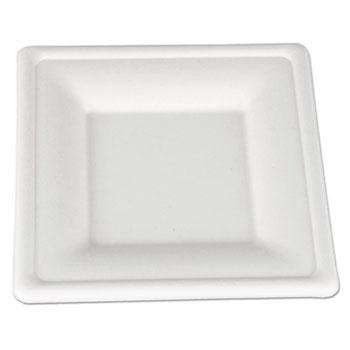ChampWare Molded Fiber Tableware, Square, 6 x 6, White, 500 per Carton