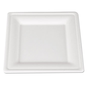 ChampWare Molded Fiber Tableware, Square, 8 x 8, White, 500 per Carton