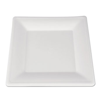 ChampWare Molded Fiber Tableware, Square, 10 x 10, White, 500 per Carton