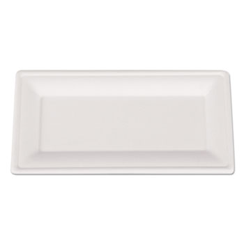 ChampWare Molded Fiber Tableware, Rectangle, 10 x 5, White, 500 per Carton