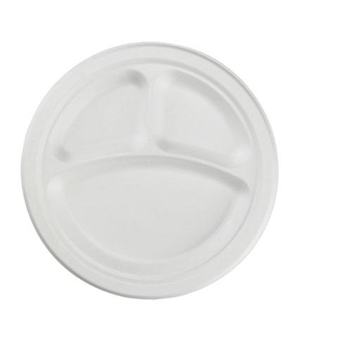 """ChampWare 10"""" Molded Fiber 3 compartment Plate, 500 Plates"""