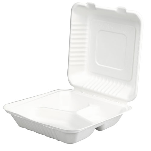3 Compartment Molded Fiber Clamshell Containers, 200 Containers