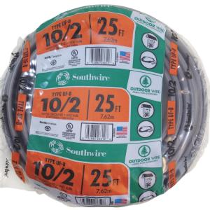 "10/2"" X25 FEET 10/2G UF ROMEX GROUND NM WIRE"