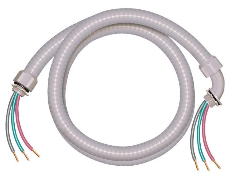 Southwire 55189301 Liquid Tight Flexible Whip, 3/4 in x 6 ft, PVC